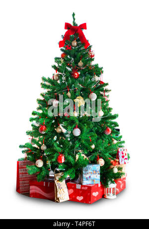 New Year, Christmas tree with gifts. Isolated on white background. Christmas, Mary, new year - Stock Photo