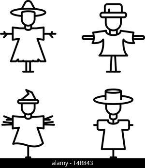 Scarecrow icons set, outline style - Stock Photo