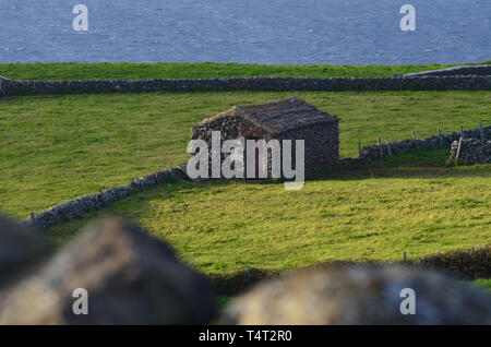 Traditional houses and rural landscapes in Norte, a small parish in the island of Santa Maria, Azores archipelago - Stock Photo