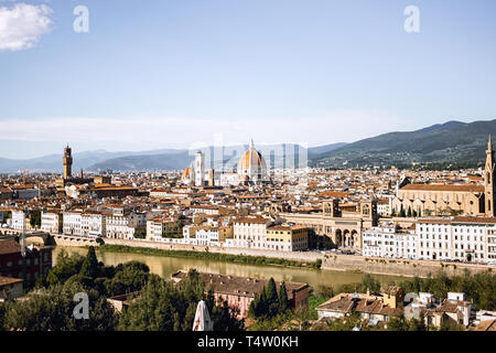 Beautiful panoramic view of Florence, Italy. Panoramic view of cathedral Santa Maria del Fiore in Florence, Italy in a beautiful summer day. - Stock Photo