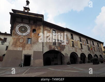Clusone - Planetary clock. Built in 1583 by Pietro Fanzago on the medieval tower and square. - Stock Photo