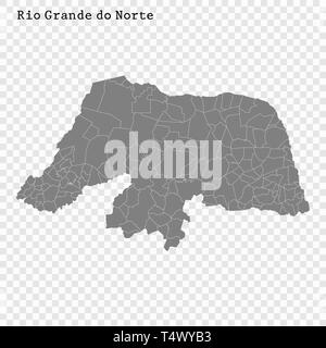 High Quality map of Rio Grande do Norte is a state of Brazil, with borders of the municipalities - Stock Photo