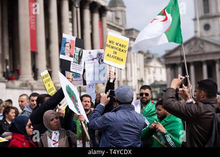London UK April 15th 2019. Algerian March on Trafalgar square, London, England - Stock Photo