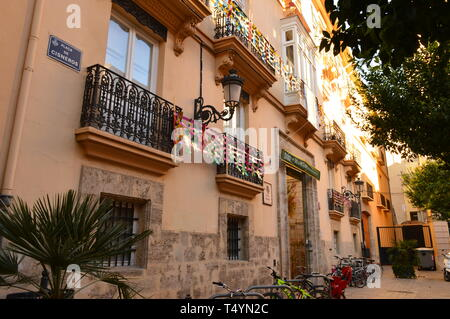 A row of house in Valencia Old Town - Stock Photo
