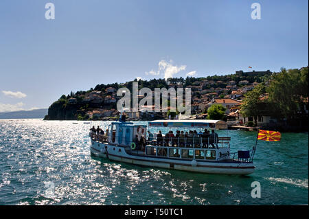 Ohrid/ Republic of Macedonia: Tourist boat on the lake Ohrid - Stock Photo