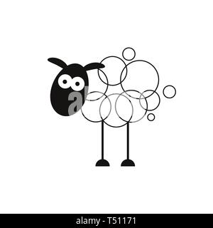 Lamb. Abstract Vector Sign, Symbol Or Logo Template. Hand Drawn Lamb Sillhouette With Retro Typography. - Stock Photo