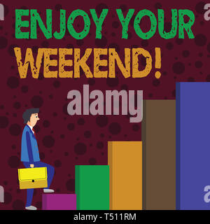 Writing note showing Enjoy Your Weekend. Business concept for wishing someone that something nice will happen at holiday Man Carrying a Briefcase in P - Stock Photo