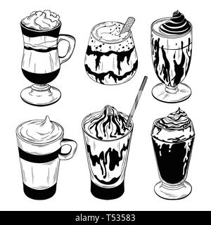 Set of different coffee cocktails isolated on white background. Vector illustration - Stock Photo