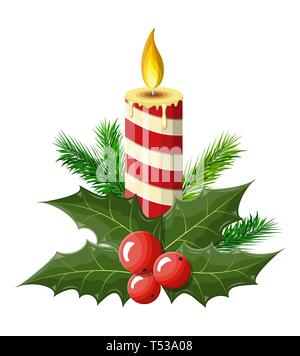 Burning candle, holly leaves and red berries. Happy new year decoration. Merry christmas holiday. New year and xmas celebration. Vector illustration i - Stock Photo