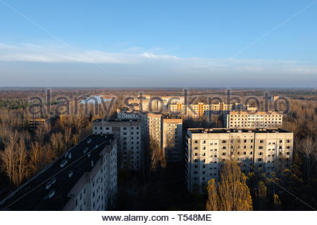 An Abandoned cityscape in Pripyat, Chernobyl Exclusion Zone 2019 - Stock Photo