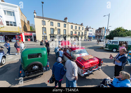 Classic car show taking place along the seafront at Marine Parade, Southend on Sea, Essex, UK. Cars, vehicles on display in sunny weather - Stock Photo