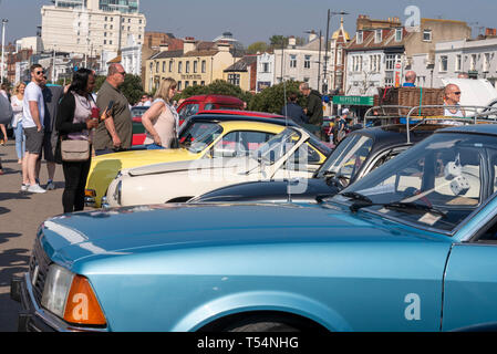 Classic car show taking place along the seafront at Marine Parade, Southend on Sea, Essex, UK. People. Sunny day - Stock Photo