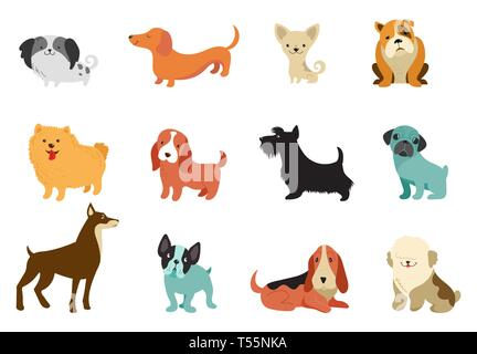 Dogs - collection of vector illustrations. Funny cartoons, different dog breeds, flat style - Stock Photo