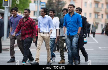 Belarus, Gomel, May 9, 2017. Victory Day. Central Street. Indian youth. Crowd of Indian men - Stock Photo