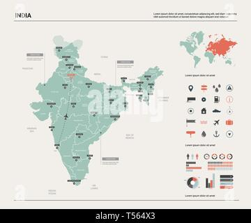 Vector map of India.  High detailed country map with division, cities and capital New Delhi. Political map,  world map, infographic elements. - Stock Photo