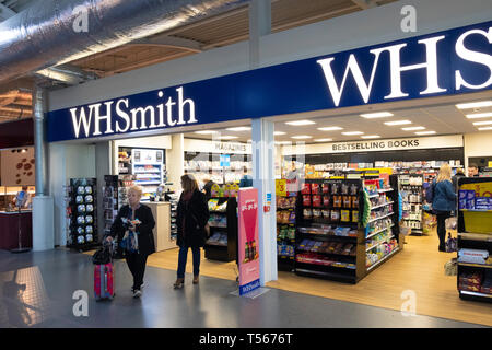 Bournemouth Airport departure hall interior WH Smith shop - Stock Photo