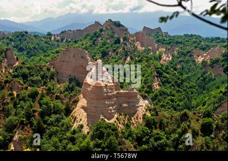 The famous sandstone pyramids in Melnik, Bulgaria - Stock Photo
