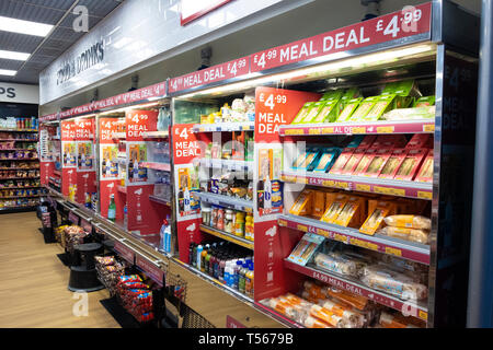 Bournemouth Airport departure hall interior meal deals display cabinets at WH Smith - Stock Photo