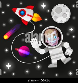 Astronaut Stay On Planet Or Moon And Welcomes Us.prints Vector Illustration. Funny Spaceman - Stock Photo