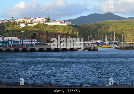 Yachts moored at the marina of Vila do Porto, administrative centre of Santa Maria island, Azores - Stock Photo