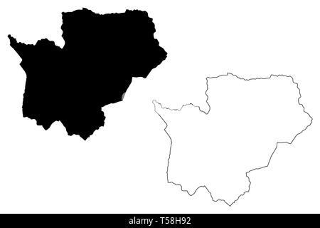 Cuanza Sul Province (Provinces of Angola, Republic of Angola) map vector illustration, scribble sketch Kwanza-Sul map - Stock Photo