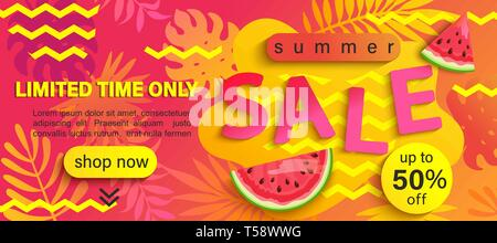 Summer Sale banner, hot season discount poster with tropical leaves for your design.Invitation for limited time shopping. 50 percent off special offer - Stock Photo