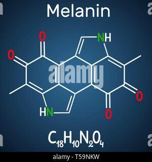 Melanin  molecule. Structural chemical formula and molecule model on the dark blue background. Vector illustration - Stock Photo