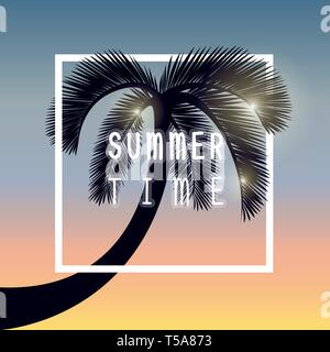 palm tree silhouette summer time holiday design vector illustration EPS10 - Stock Photo