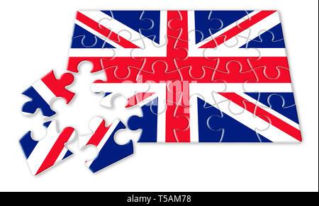 Rebuild england - concept image in puzzle shape - Stock Photo