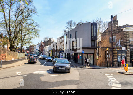 Modern architecture meets traditional Georgian style in Highgate Village, London, UK, on a warm and sunny Easter weekend - Stock Photo