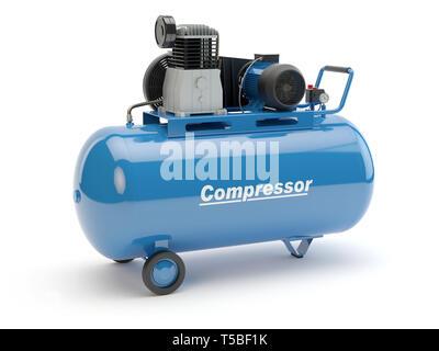 Blue Air Compressor, 3D illustration - Stock Photo