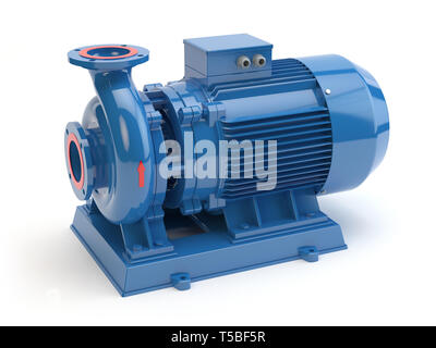 Blue electric water pump, 3D illustration - Stock Photo