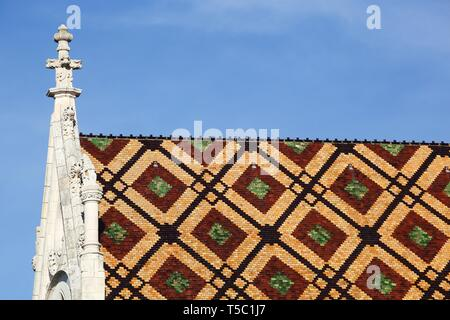 Roof of the Royal Monastery of Brou in Bourg en Bresse, France - Stock Photo