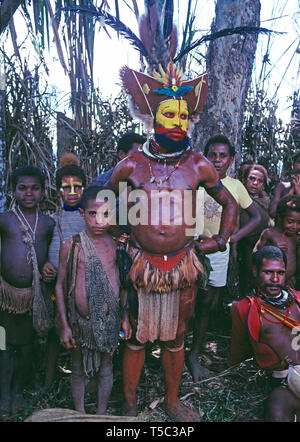 Papua New Guinea. Southern Highlands. Local Huli tribesman with children. - Stock Photo