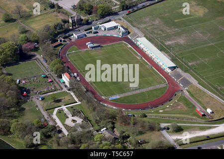 aerial view of Bradford Park Avenue FC football ground & Horsfall Stadium & Bradford Airedale Athletic Club, West Yorkshire - Stock Photo