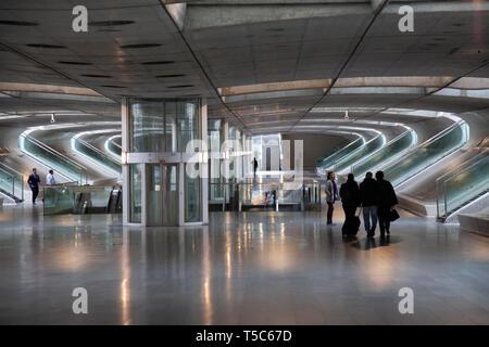 Oriente Metro at  Parque das Nações in Lisbon, Portugal - Stock Photo