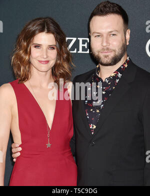 LOS ANGELES, CA - APRIL 22: Cobie Smulders (L) and Taran Killam arrive at the world premiere Of Walt Disney Studios Motion Pictures 'Avengers: Endgame' at the Los Angeles Convention Center on April 22, 2019 in Los Angeles, California. - Stock Photo