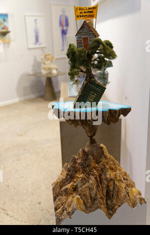 I don't beleive in global warming of La Fratrie exibited  at Art Fair Art Paris. Credit: Veronique Phitoussi/Alamy Stock Photo - Stock Photo