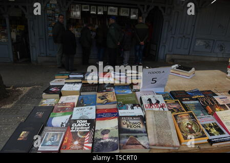 Madrid, Madrid, Spain. 23rd Apr, 2019. Books are seen being displayed at the Cuesta de Moyano street in Madrid during the World Book Day.World Book Day is celebrated all over the world. The specific date was chosen by the Spanish booksellers to honour the author Miguel de Cervantes, who died on April 22nd in 1616. Credit: John Milner/SOPA Images/ZUMA Wire/Alamy Live News - Stock Photo