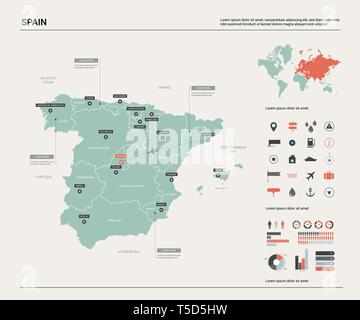 Vector map of Spain. High detailed country map with division, cities and capital Madrid. Political map,  world map, infographic elements. - Stock Photo