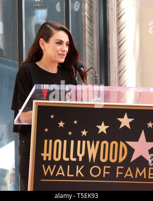 April 23, 2019 - Los Angeles, CA, USA - LOS ANGELES - APR 23:  Mila Kunis at the Seth MacFarlane Star Ceremony on the Hollywood Walk of Fame on April 23, 2019 in Los Angeles, CA (Credit Image: © Kay Blake/ZUMA Wire) - Stock Photo