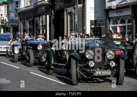 Preview of 'Age of Endeavour' Exhibition dedicated to Bentley at Bonhams, featuring Bentley Team car 'Mother Gun' 1928 Le Mans winner. - Stock Photo