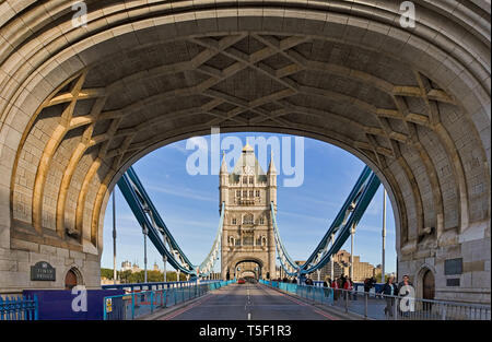 Tower Bridge, London - View of the north tower through the arch of the south tower. - Stock Photo