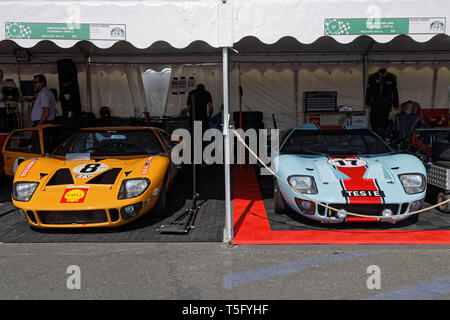 LE MANS, FRANCE, July 7, 2018 : Le Mans Classic on the circuit of the 24 hours. No other event in the world assembles so many old racing cars in the s - Stock Photo