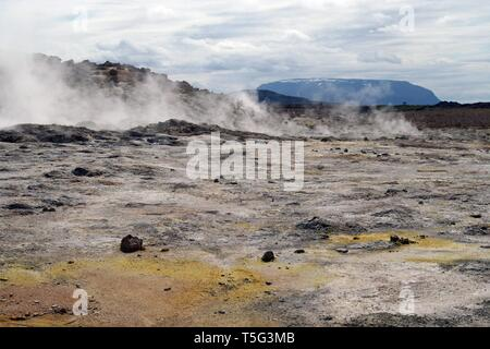Seltun / Krysuvik (Krýsuvík): Geothermal field with fumaroles steaming gas - Stock Photo