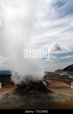 Seltun / Krysuvik (Krýsuvík): Isolated steaming fumarole - Stock Photo