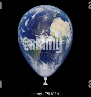 planet Earth balloon showing Africa, Europe, South America and North America (3d illustration, isolated on black background, elements of this image ar - Stock Photo