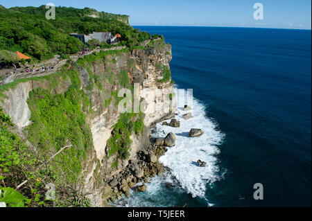 The Amphitheatre on the cliff top at Uluwatu Temple (Pura Luhur Uluwatu) on the Bukit Peninsula in Bali, Indonesia - Stock Photo