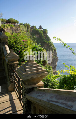 A view of Uluwatu Temple (Pura Luhur Uluwatu) on the Bukit Peninsula in Bali, Indonesia - Stock Photo
