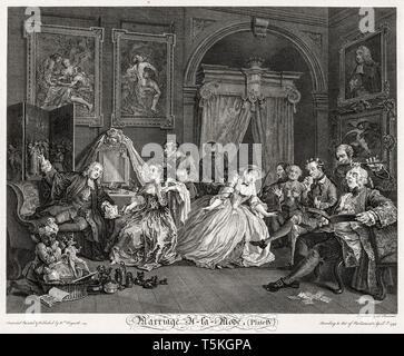 William Hogarth, Marriage à la Mode: The Toilet Scene, engraving, 1745 - Stock Photo